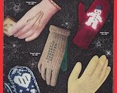 Gloves & Mittens Vintage Pattern Book 1953 Knitting Crocheting