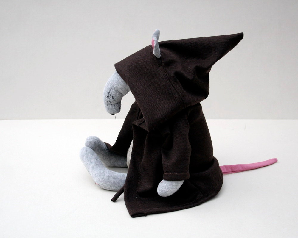 Jedi Rat, Grey Plush Rat dressed up as a Jedi Knight, Soft Toy for Babies