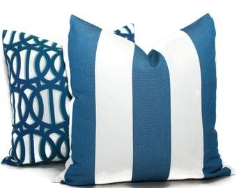 Sunbrella Regatta Blue and White Cabana Stripe Indoor Outdoor Pillow Cover, Throw Pillow, Pool Pillow