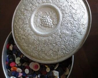 Huge Vintage Buttons Lot in Guildcraft Storage Tin Bulk DIY Supplies