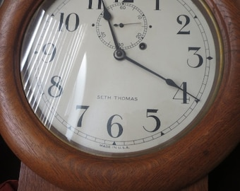 SETH THOMAS Antique  Rail Station Clock Vintage Wood Hanging Pendulum Clock