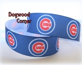 "1+ Yard - 7/8"" Chicago Cubs Baseball Sports Team Grosgrain Ribbon - Bow Making Supplies - Craft Sewing Supplies."