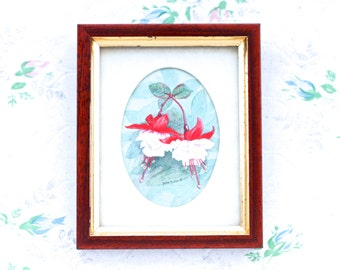 Fuschia Flower Small Picture Frame - Vintage Wall hanging - Julie Hockin