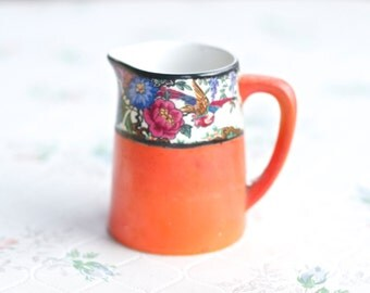 Small Milk Pitcher - Porcelain Orange Jug - Allertons Made in England - Colorful flowers