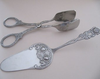 Dessert serving set of tongs and pie server, fancy pie or cake server, cookies cupcakes pastry serving tongs, vintage Roses serving set