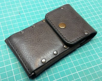 Handmade sleeve from vintage dark brown genuine leather to fit iPhone 6 S with Lifeproof case ,pocket card,ID free initials,belt loop