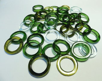 Recycled  Multi Colors Recycled Kiln Polished Bottle Rings 36 Rings (R969)