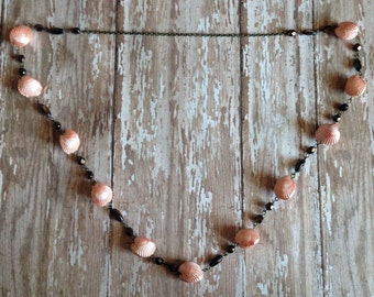 Necklace in Pink Ark Shells with Bronze Accents- Sea Treasures