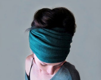 TEAL Headband - Jersey Hair Wrap - Teal Green Ear Warmer - Bohemian Head Scarf - Jewel Tone Boho Hair Accessory