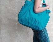 20% SALE back to school IRIS // Teal / Lined with Beige / 054 // Ship in 3 days // Messenger / Diaper bag / Shoulder bag / Tote bag / Purse