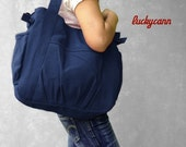Winter Sale 15%off IRIS // Navy / Lined with Beige / 0510 // Ship in 3 days // Messenger / Diaper bag / Gym bag / canvas bag / Tote / Purse