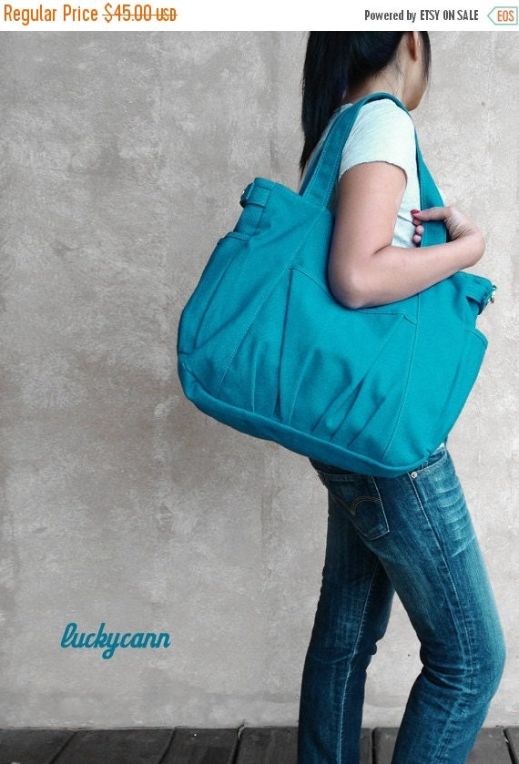 20% SALE back to school IRIS // Teal / Lined with Beige / 054 // Ship in 3 days // Messenger / Diaper bag / Shoulder bag / Tote bag / Purse