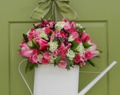Spring Wreath - Hydrangea Wreath - Mothers Day Gift - Watering Can Wreath