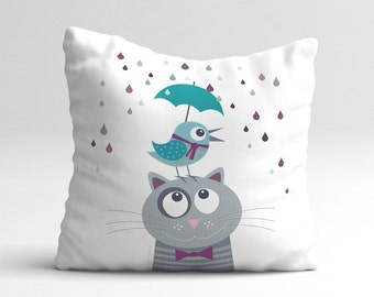 Kids pillow case, Baby Toddler Nursery, throw pillow, cushion cover animal, bedding, pillows, furniture and decor, baby, girls boys, animal