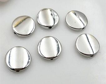 10pcs-flat round beads-silver tone beads, shining silver beads