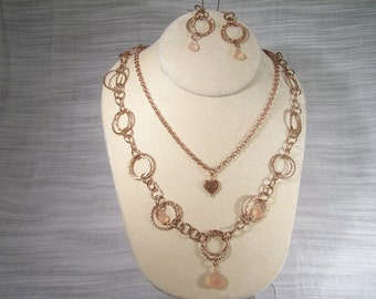 Rose Gold Chains Melt My Heart Necklace Set 293S