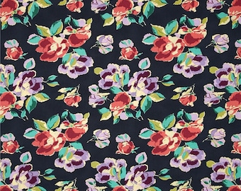 11296 Amy Butler PWAB148 Bright Heart  Natural Beauty in Navy color - 1 yard