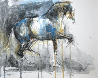 Original Watercolor and Black Chalk Painting of a Dressage Horse at Piaffe, Contemporary Original Fine Art, Animal