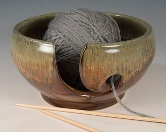 Yarn / Knitting Bowl - Flowing Golden Brown/Black Glaze - Wheel Thrown Stoneware by Seiz Pottery