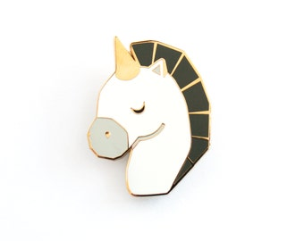 Unicorn Brooch Pin Geometric Black White