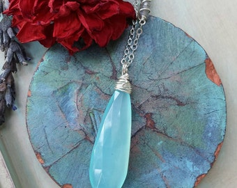On Sale! 20% Off * Luxe Aqua Chalcedony Necklace, Labradorite, Silver, Limited Edition, *Ready-to-ship*