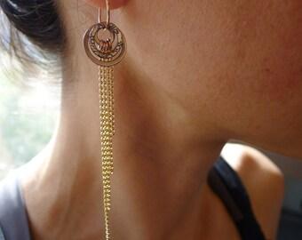Amrita Earrings ~ Med ~ with 14k Gold Fringe