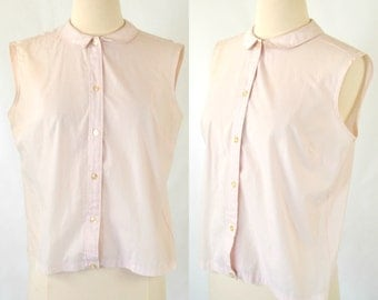1960s Pale Purple/Pink Sleeveless Blouse by Broadcloth, Peter Pan Collar