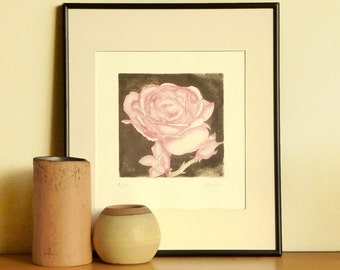 Original Etching Print A ROSE FOR YOU The Queen Flower  Aquatint Printmaking Botanic Wall Decor Poetic Mezzotint Print Pink Rose 10 x10