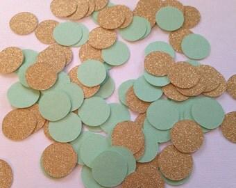 200 Mint Green Gold Confetti, Baby Shower Confetti, Wedding Confetti, Bridal Shower, Circle Confetti, Birthday Party, Gold Mint Confetti