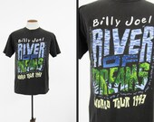 Vintage Billy Joel 93 Tour T-shirt River of Dreams World Tour Concert Shirt - Large