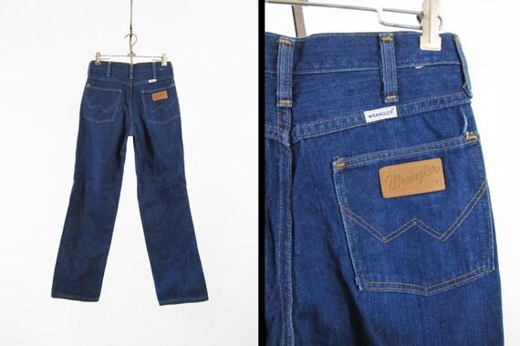 vintage 70s wrangler jeans denim dark wash white label made in. Black Bedroom Furniture Sets. Home Design Ideas