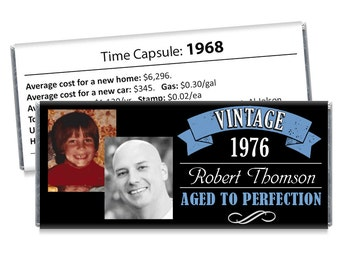 Set of 12 - Aged to Perfection Then and Now Photo Candy Bar Wrappers - Adult Milestone BirthdayFavors