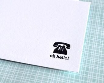 oh hello! mini notecard :  letterpress