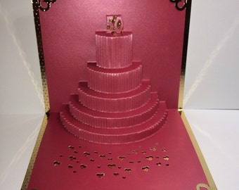 50th ANNIVERSARY 50th BIRTHDAY Cake 3D Pop Up Greeting Card Handmade In Plum Red & Metallic Shimmery Gold Home Décor  Handmade OOaK