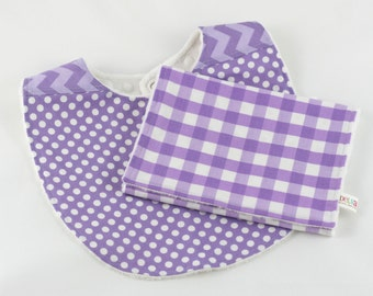 Purple Minky Baby Bib & Burp Cloth Gift Set, Minky Bib and Burp, Baby Gift Set, Girl Baby Shower Gift, READY TO SHIP