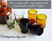 Vintage Shot Glass Collection, hand blown, set of 6, great for entertaining, man cave, retro bar
