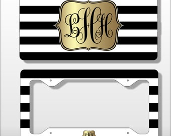 Monogram License Plate with Matching Key Chain - Black and White Personalized Licence Tag - Custom  Frame - Car Tag - Vanity  Plate