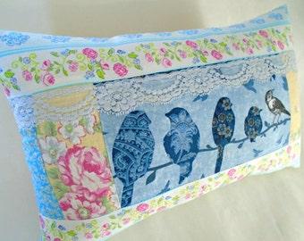 Birdies And Roses Pillow / Blue Bird Pillow / Bird Silhouette Pillow / Cottage Sweet Shabby Chic Pillow / Oblong / Birds On A Branch / Blue