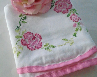 Pink Roses Pillowcase / Vintage Hand Embroidered Pillow Case /