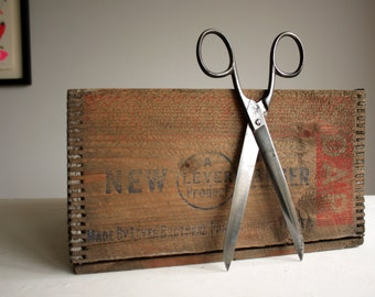 large vintage pair of sheffield marked scissors