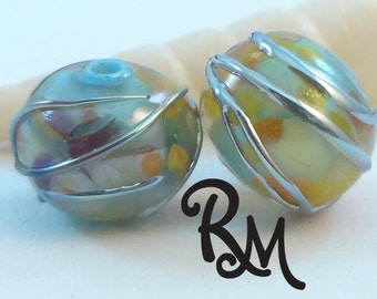 Lampwork Bead Pair -  'Summer Waves'
