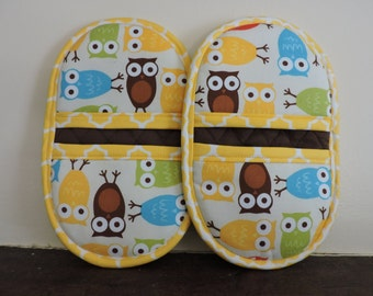 Microwave Mitts-Oven Mitts-Pinchers-Multi-Color Owls w/Yellow Trim-Free Shipping