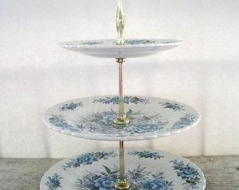 "Three Tier Cake/Dessert Stand by British Anchor ""Blue Cluster"""