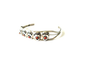 Navajo Sterling Silver Red Coral Bear Claw Cuff Bracelet