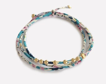 Liberty Bracelet with Gold Plated Beads • Bracelet en Liberty et perles en Plaqué Or