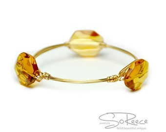 Goldish yellow beaded BANGLE bracelet