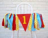 Boy 1st birthday Banner - Curious George birthday - 1st birthday banner - 1st birthday photo prop - boy 1st birthday - Circus Party