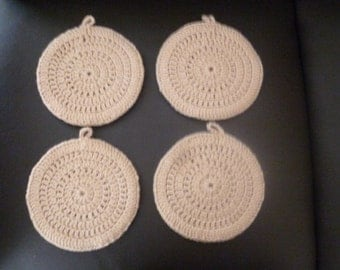 4 Buff Colored Crocheted Potholders