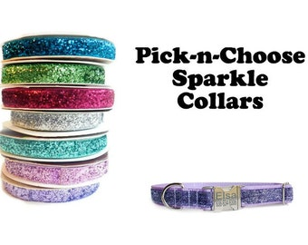 """5/8"""" Dog Collar for Small Dogs, Sparkle Ribbon, Personalized Dog Collar"""