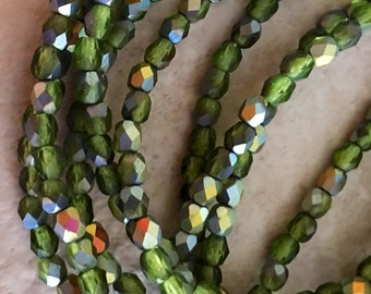 Czech Glass Faceted Round Matte finished transparent olivine with vitrial finish4mm  - Fire Polished